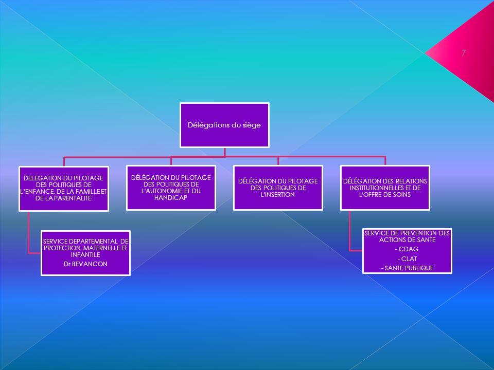 7 Délégations du siège DELEGATION DU PILOTAGE DES POLITIQUES DE LENFANCE, DE LA FAMILLE ET DE LA PARENTALITE SERVICE DEPARTEMENTAL DE PROTECTION MATER