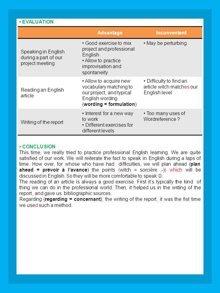 Abire Parler en anglais lors de notre séance a été pour moi un exercice profitable.