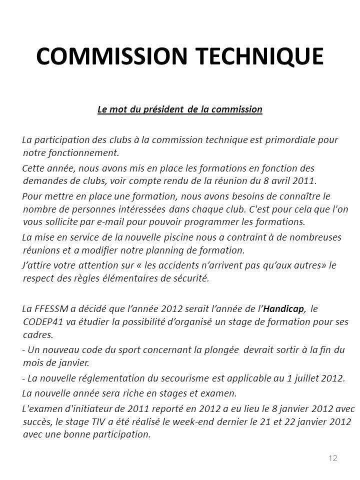 COMMISSION TECHNIQUE 12 Le mot du président de la commission La participation des clubs à la commission technique est primordiale pour notre fonctionn