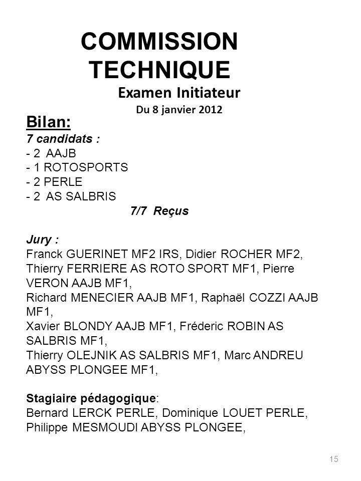 Examen Initiateur Du 8 janvier 2012 15 Bilan: 7 candidats : - 2 AAJB - 1 ROTOSPORTS - 2 PERLE - 2 AS SALBRIS 7/7 Reçus Jury : Franck GUERINET MF2 IRS,