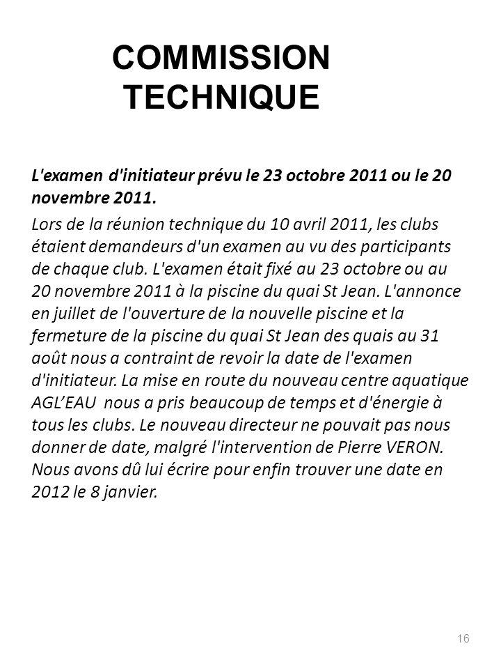 L'examen d'initiateur prévu le 23 octobre 2011 ou le 20 novembre 2011. Lors de la réunion technique du 10 avril 2011, les clubs étaient demandeurs d'u