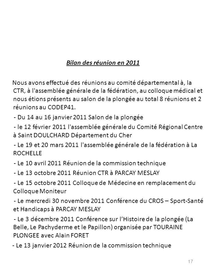 Bilan des réunion en 2011 Nous avons effectué des réunions au comité départemental à, la CTR, à l'assemblée générale de la fédération, au colloque méd