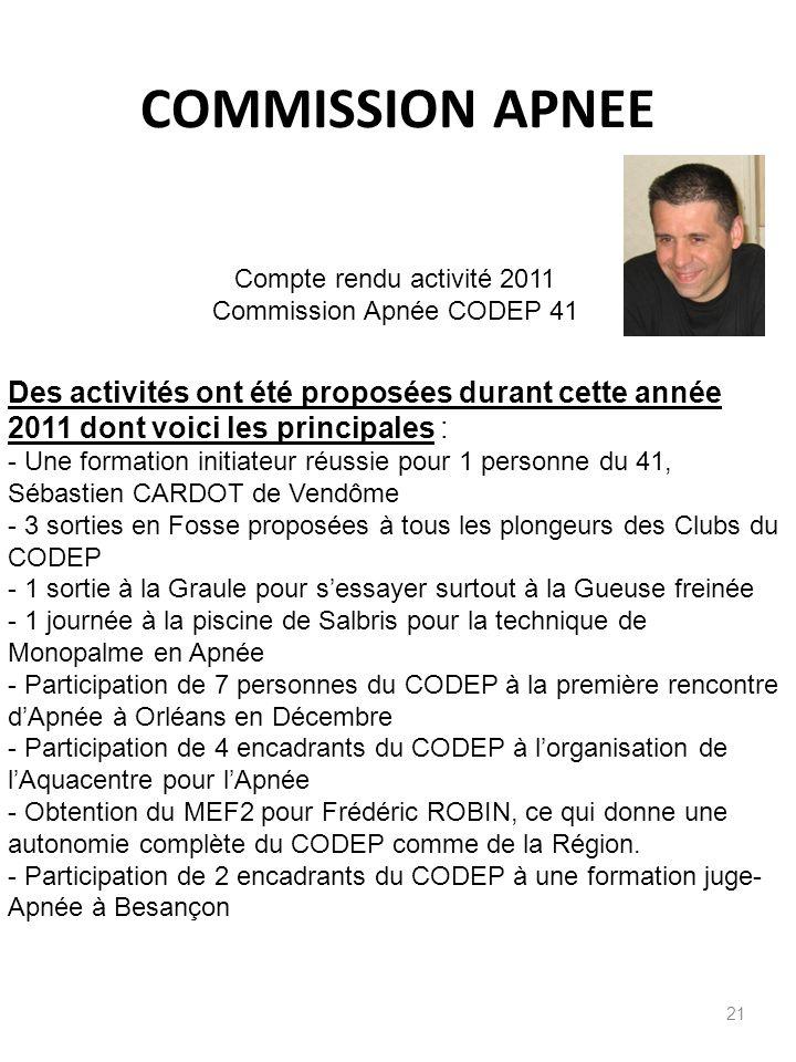 COMMISSION APNEE 21 Compte rendu activité 2011 Commission Apnée CODEP 41 Des activités ont été proposées durant cette année 2011 dont voici les princi