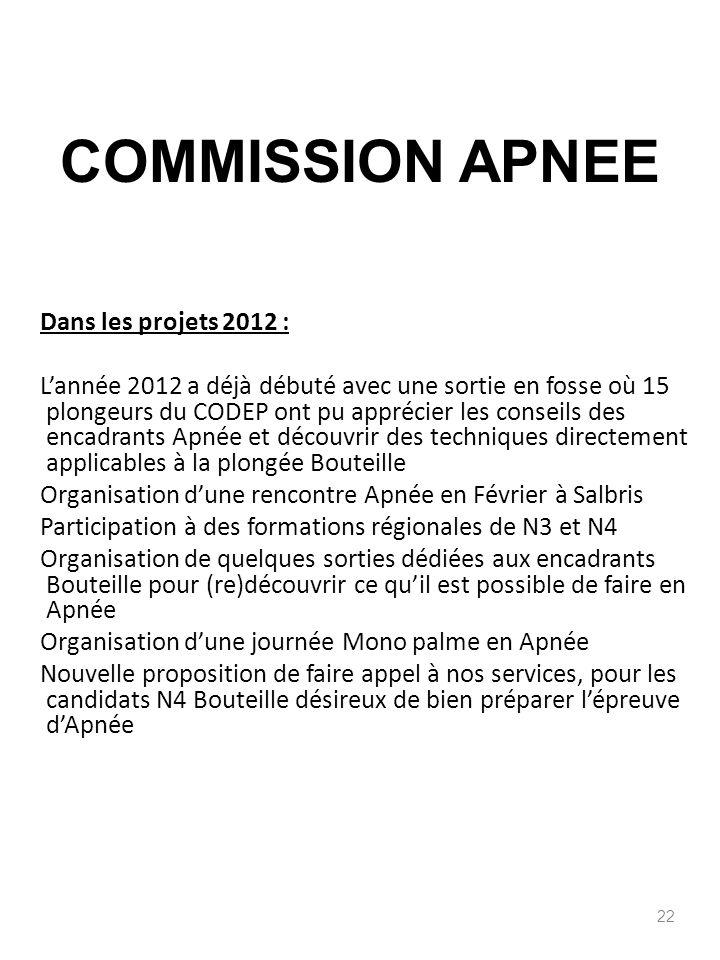 Dans les projets 2012 : Lannée 2012 a déjà débuté avec une sortie en fosse où 15 plongeurs du CODEP ont pu apprécier les conseils des encadrants Apnée