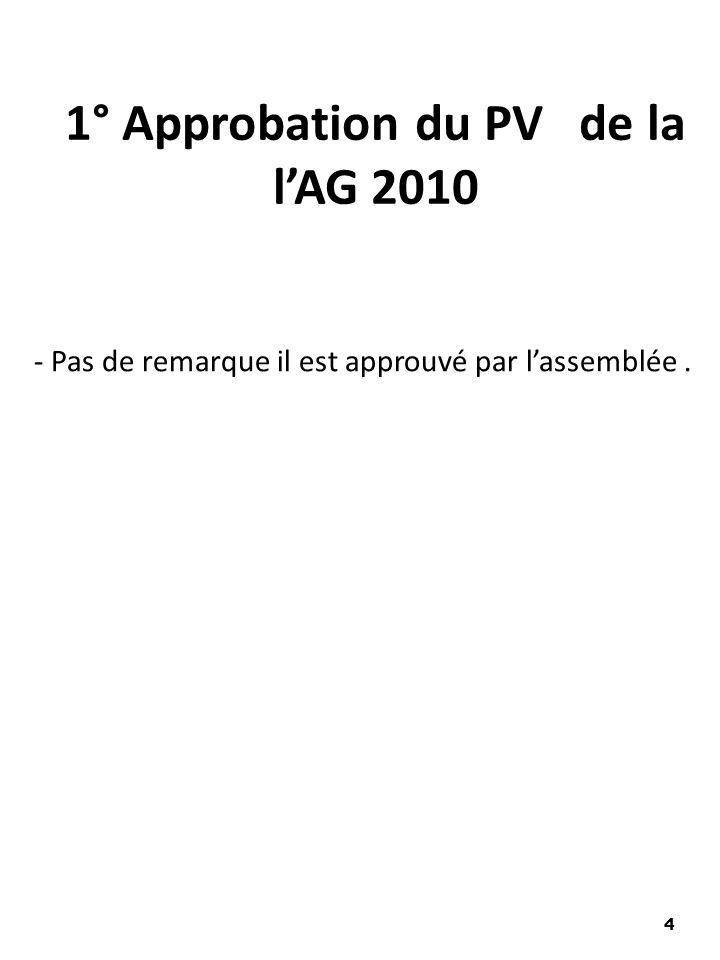 - Pas de remarque il est approuvé par lassemblée. 1° Approbation du PV de la lAG 2010 4