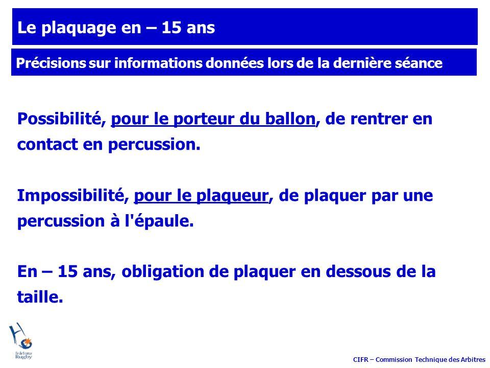 CIFR – Commission Technique des Arbitres Le plaquage en – 15 ans Possibilité, pour le porteur du ballon, de rentrer en contact en percussion. Impossib
