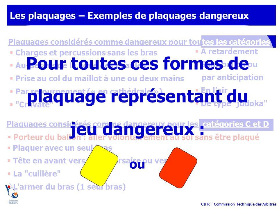 CIFR – Commission Technique des Arbitres Plaquages considérés comme dangereux pour les catégories C et D Les plaquages – Exemples de plaquages dangere