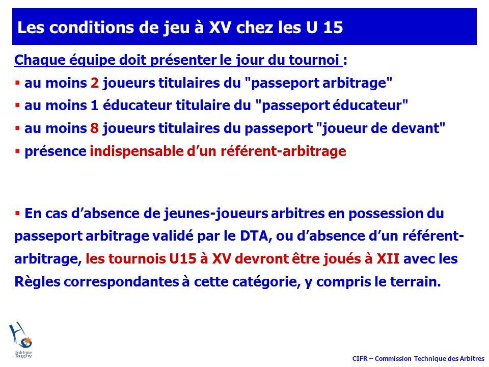 CIFR – Commission Technique des Arbitres Les conditions de jeu à XV chez les U 15 Le rôle du référent-arbitrage : Le référent arbitrage est muni dun sifflet.