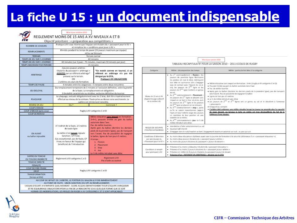 CIFR – Commission Technique des Arbitres La fiche U 15 : un document indispensable