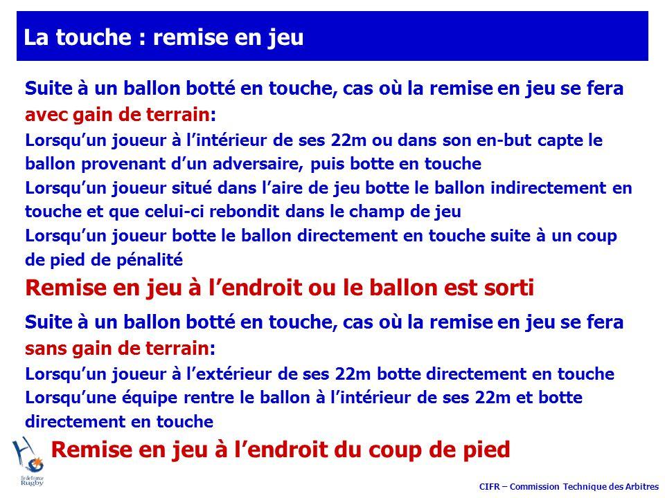 CIFR – Commission Technique des Arbitres La touche : remise en jeu Suite à un ballon botté en touche, cas où la remise en jeu se fera avec gain de ter