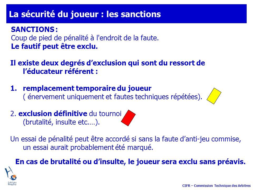 CIFR – Commission Technique des Arbitres SANCTIONS : Coup de pied de pénalité à l'endroit de la faute. Le fautif peut être exclu. Il existe deux degré