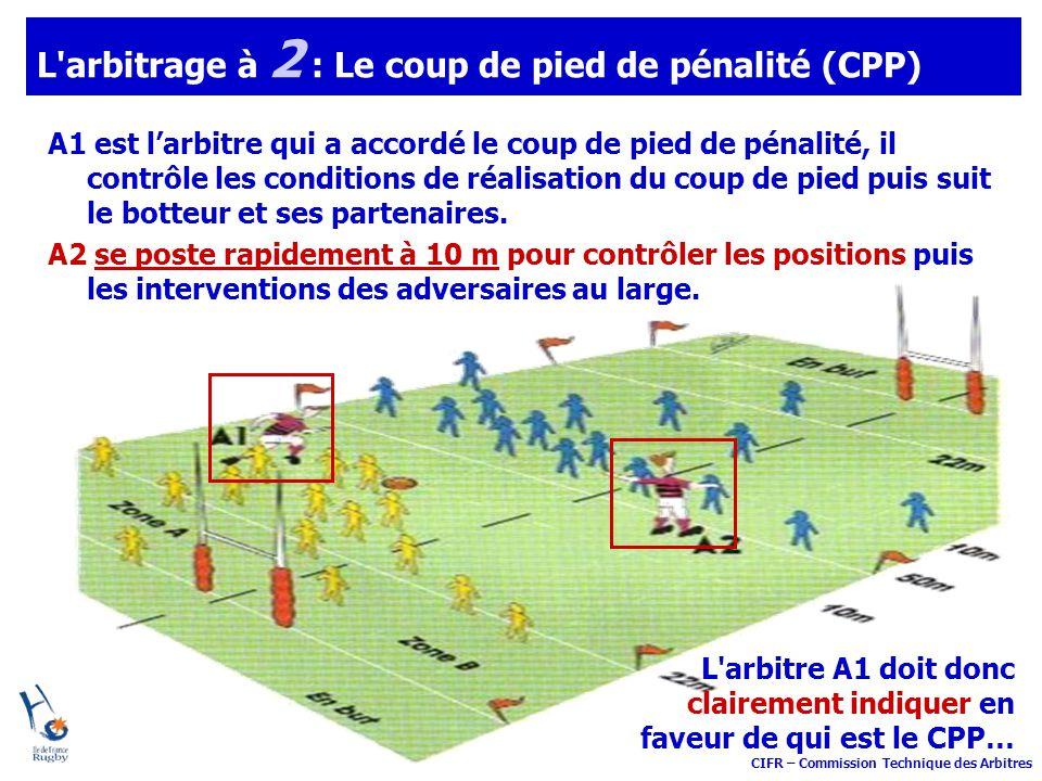 CIFR – Commission Technique des Arbitres L'arbitrage à 2 : Le coup de pied de pénalité (CPP) A1 est larbitre qui a accordé le coup de pied de pénalité