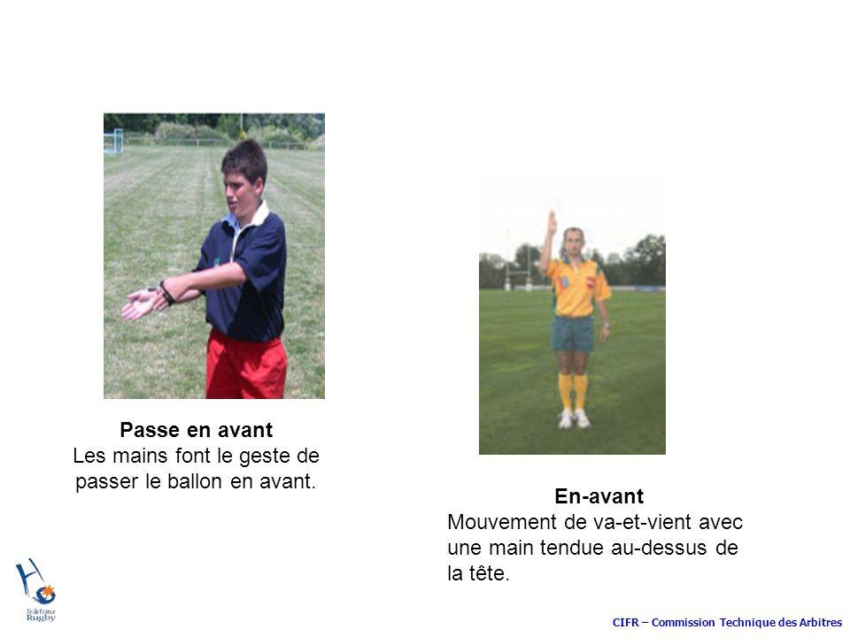CIFR – Commission Technique des Arbitres Passe en avant Les mains font le geste de passer le ballon en avant. En-avant Mouvement de va-et-vient avec u