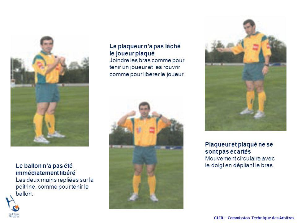 CIFR – Commission Technique des Arbitres Le plaqueur na pas lâché le joueur plaqué Joindre les bras comme pour tenir un joueur et les rouvrir comme po