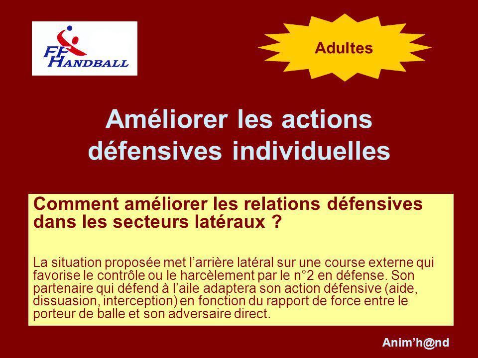 Améliorer les actions défensives individuelles Comment améliorer les relations défensives dans les secteurs latéraux .