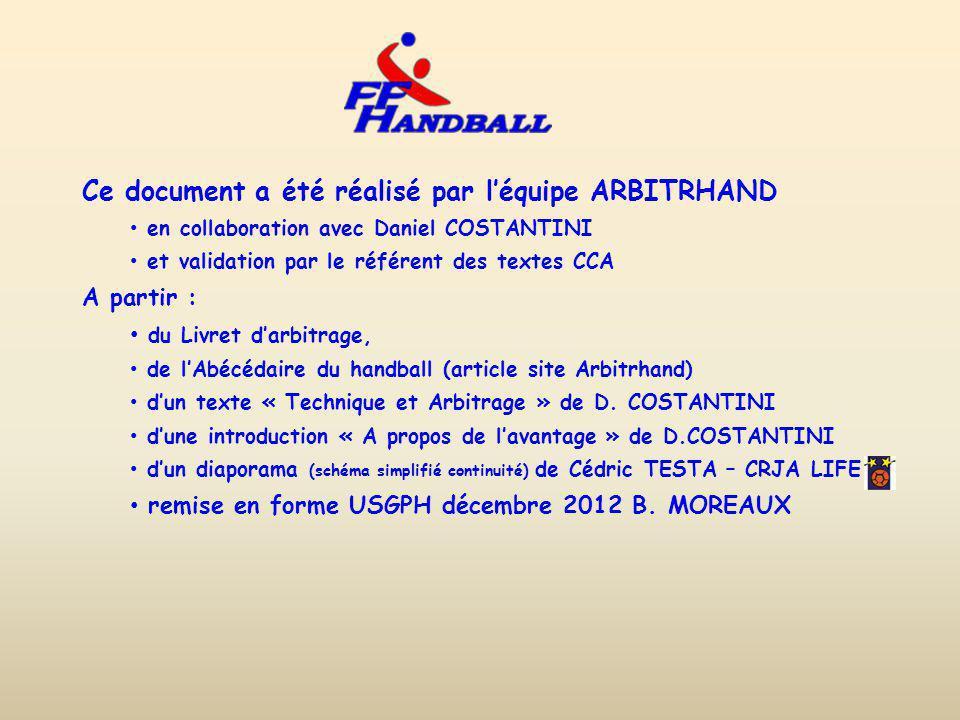 Ce document a été réalisé par léquipe ARBITRHAND en collaboration avec Daniel COSTANTINI et validation par le référent des textes CCA A partir : du Livret darbitrage, de lAbécédaire du handball (article site Arbitrhand) dun texte « Technique et Arbitrage » de D.