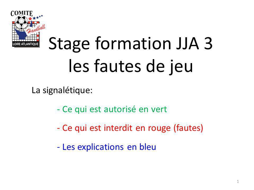 Stage formation JJA 3 les fautes de jeu 1 La signalétique: - Ce qui est autorisé en vert - Ce qui est interdit en rouge (fautes) - Les explications en