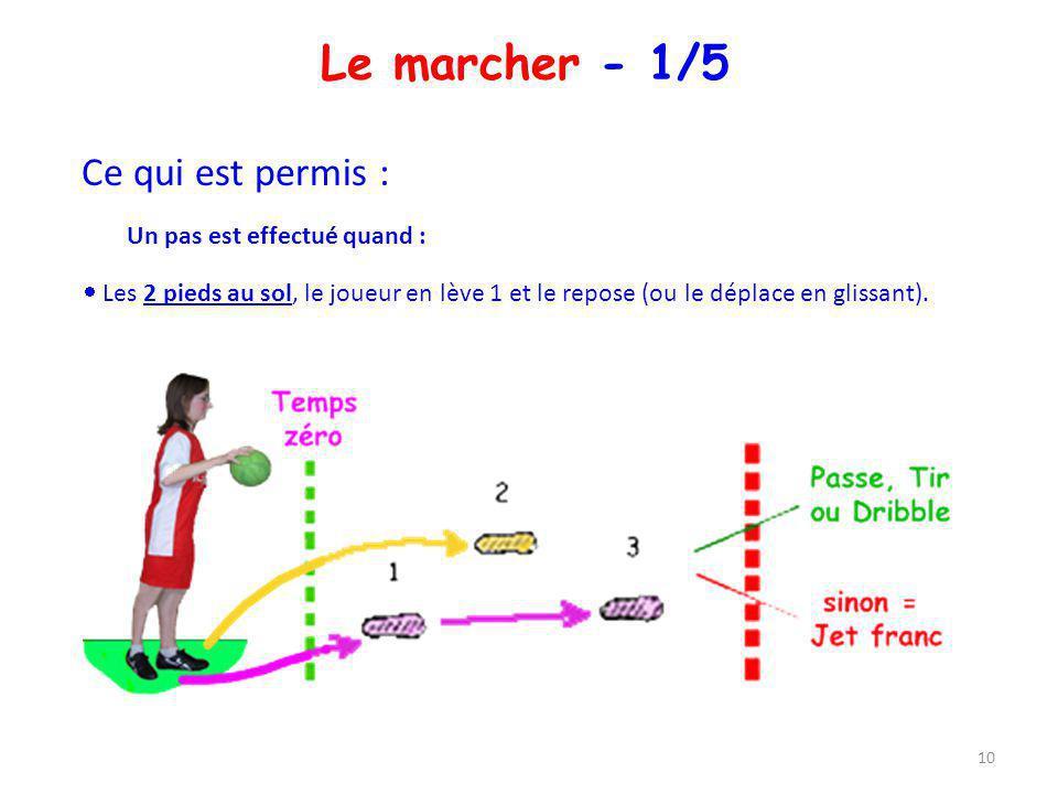 Le marcher - 1/5 Ce qui est permis : Un pas est effectué quand : Les 2 pieds au sol, le joueur en lève 1 et le repose (ou le déplace en glissant). 10