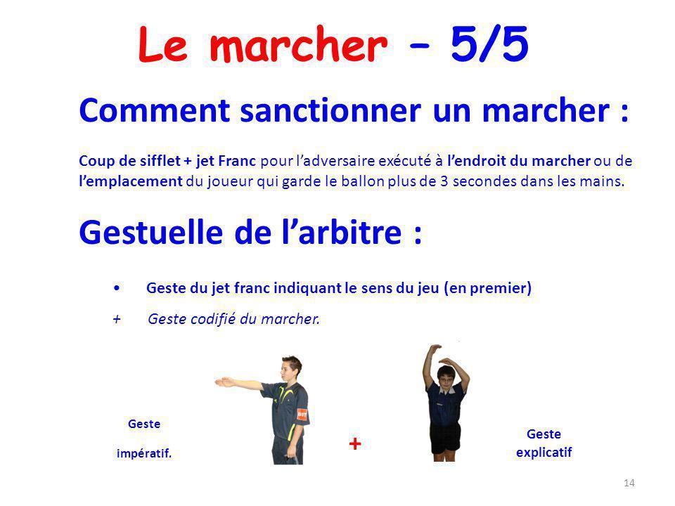 Le marcher – 5/5 14 Comment sanctionner un marcher : Coup de sifflet + jet Franc pour ladversaire exécuté à lendroit du marcher ou de lemplacement du
