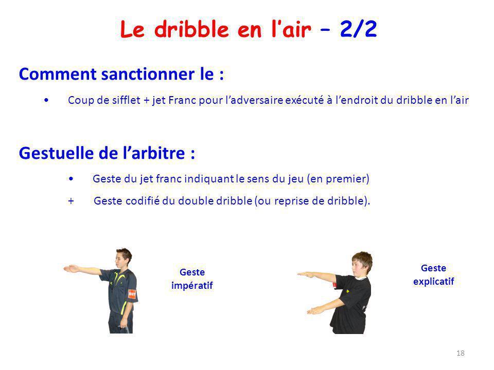 Le dribble en lair – 2/2 Comment sanctionner le : Coup de sifflet + jet Franc pour ladversaire exécuté à lendroit du dribble en lair Gestuelle de larb