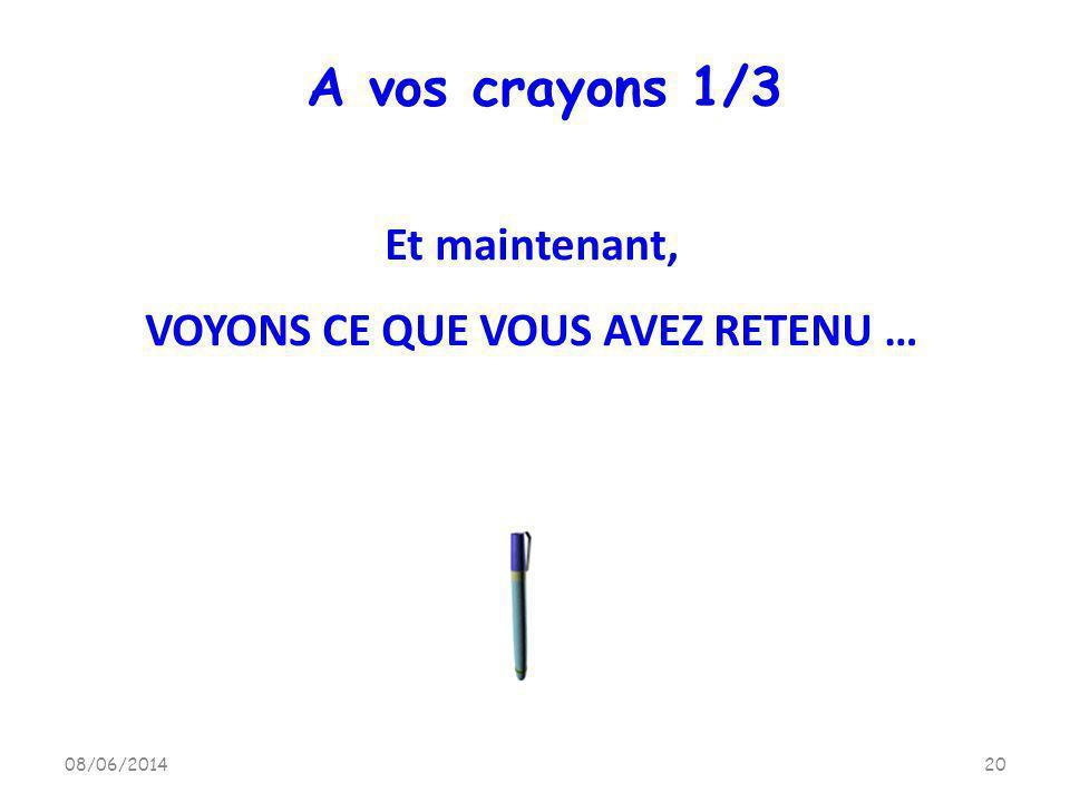 08/06/201420 A vos crayons 1/3 Et maintenant, VOYONS CE QUE VOUS AVEZ RETENU …