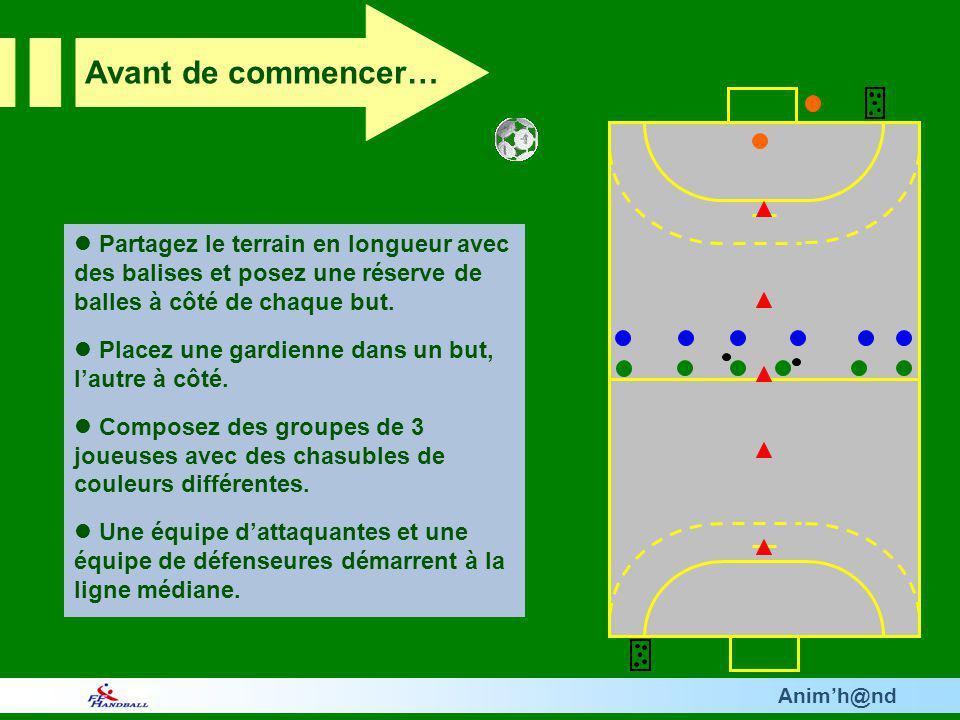 Animh@nd Partagez le terrain en longueur avec des balises et posez une réserve de balles à côté de chaque but. Placez une gardienne dans un but, lautr