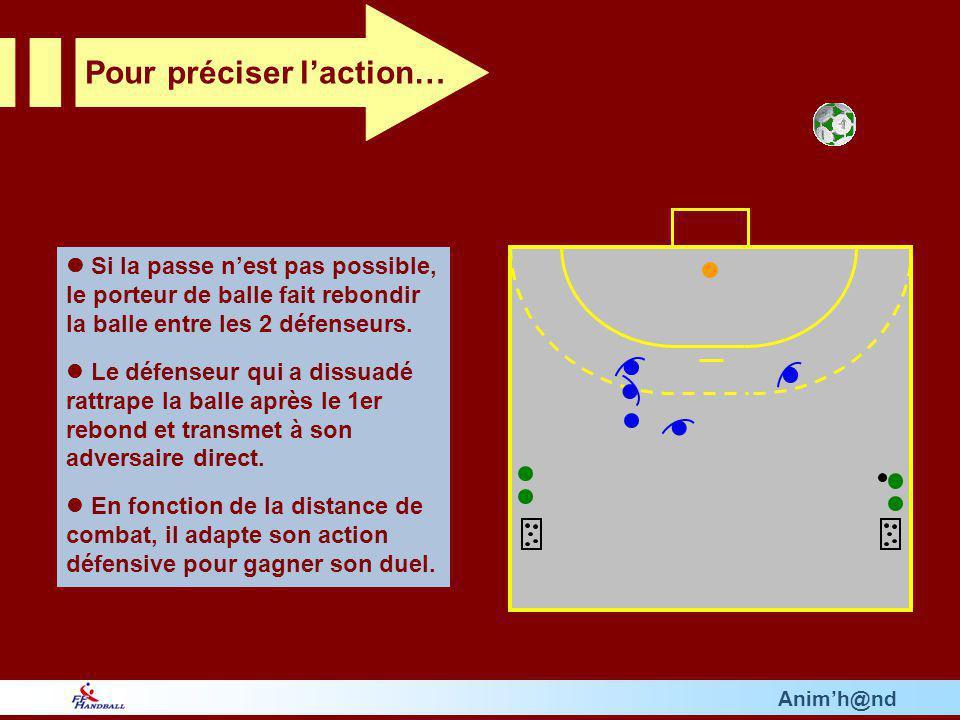 Si la passe nest pas possible, le porteur de balle fait rebondir la balle entre les 2 défenseurs.