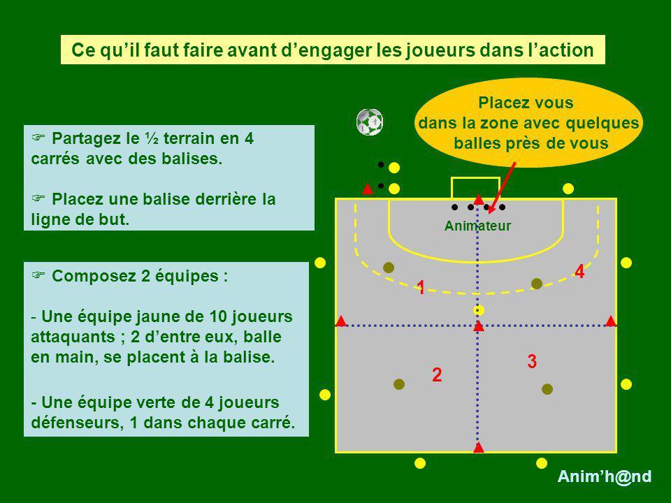 Les verts doivent sopposer à la progression du PB et/ou récupérer la balle.