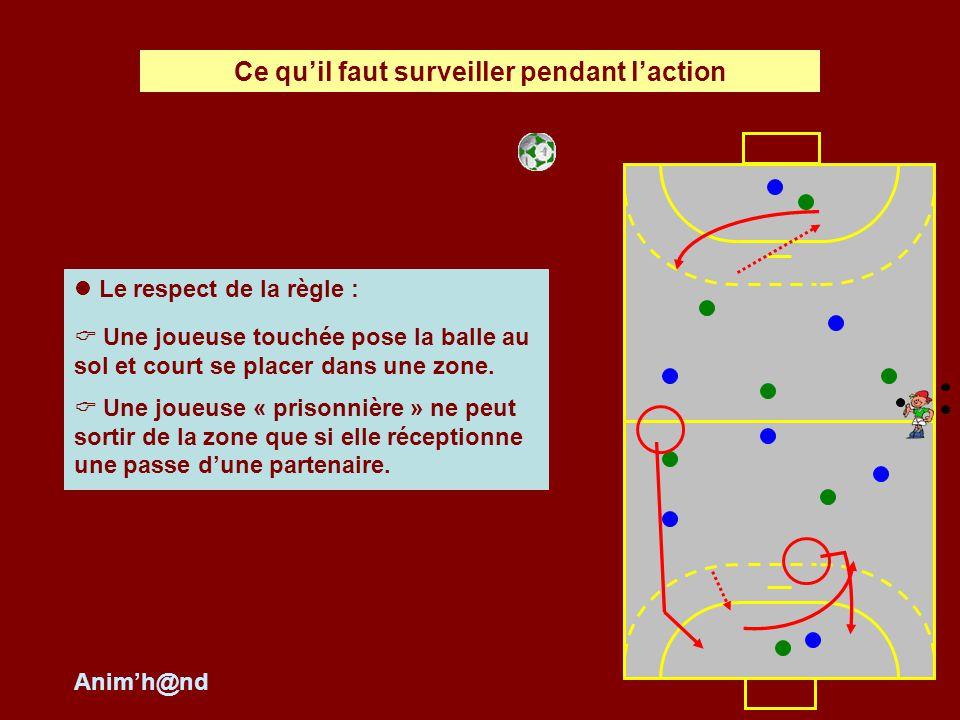 Le respect de la règle : Une joueuse touchée pose la balle au sol et court se placer dans une zone.