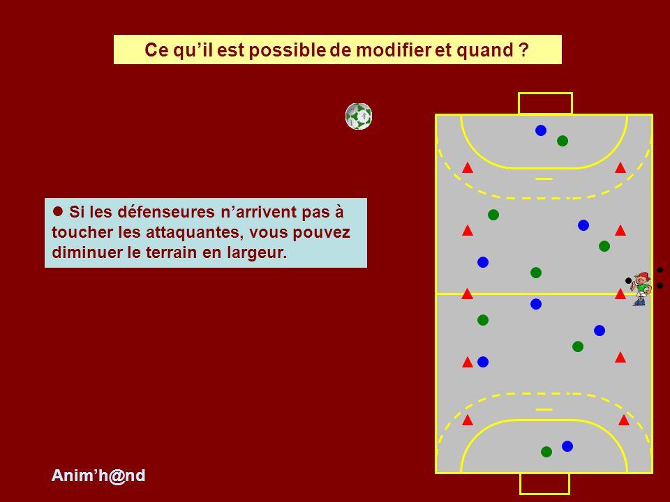 Si les défenseures narrivent pas à toucher les attaquantes, vous pouvez diminuer le terrain en largeur. Ce quil est possible de modifier et quand ? An