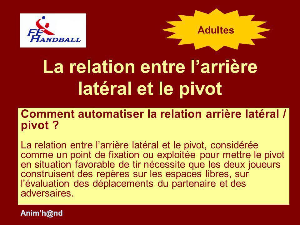 La relation entre larrière latéral et le pivot Comment automatiser la relation arrière latéral / pivot ? La relation entre larrière latéral et le pivo