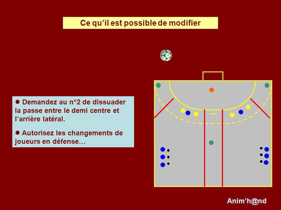 Demandez au n°2 de dissuader la passe entre le demi centre et larrière latéral. Autorisez les changements de joueurs en défense… Ce quil est possible