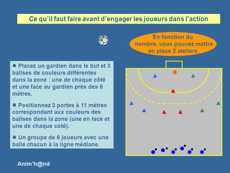 Placez un gardien dans le but et 3 balises de couleurs différentes dans la zone : une de chaque côté et une face au gardien près des 6 mètres.