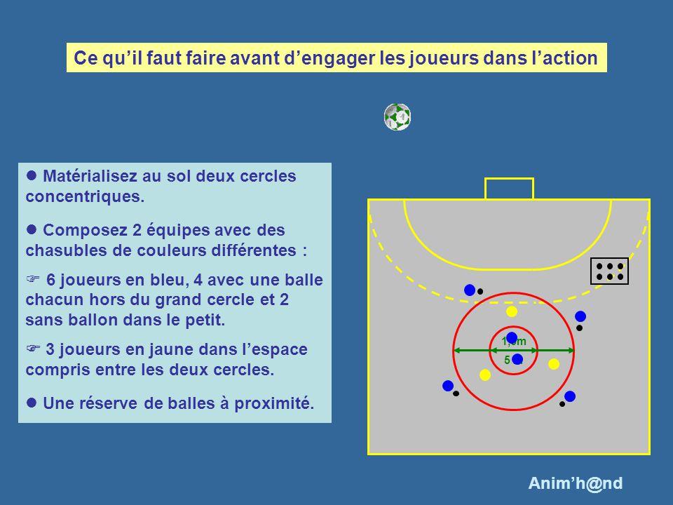 Matérialisez au sol deux cercles concentriques. Composez 2 équipes avec des chasubles de couleurs différentes : 6 joueurs en bleu, 4 avec une balle ch