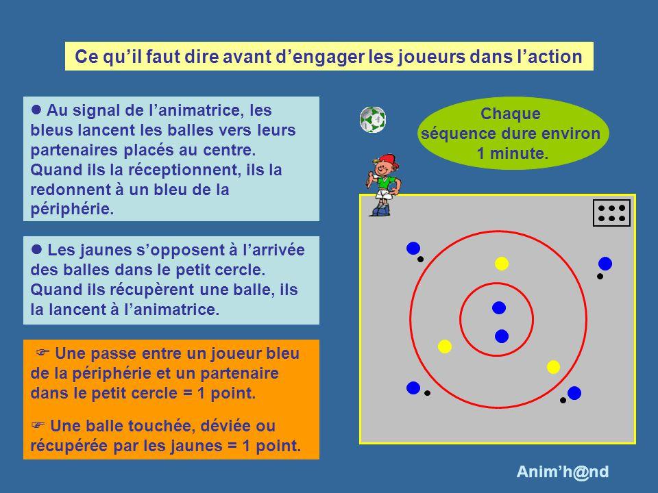 Au signal de lanimatrice, les bleus lancent les balles vers leurs partenaires placés au centre. Quand ils la réceptionnent, ils la redonnent à un bleu