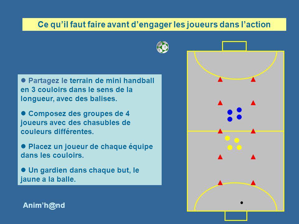 Partagez le terrain de mini handball en 3 couloirs dans le sens de la longueur, avec des balises. Composez des groupes de 4 joueurs avec des chasubles