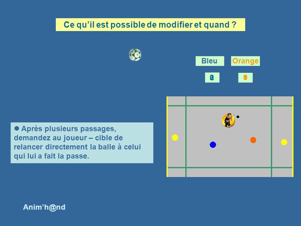Après plusieurs passages, demandez au joueur – cible de relancer directement la balle à celui qui lui a fait la passe.