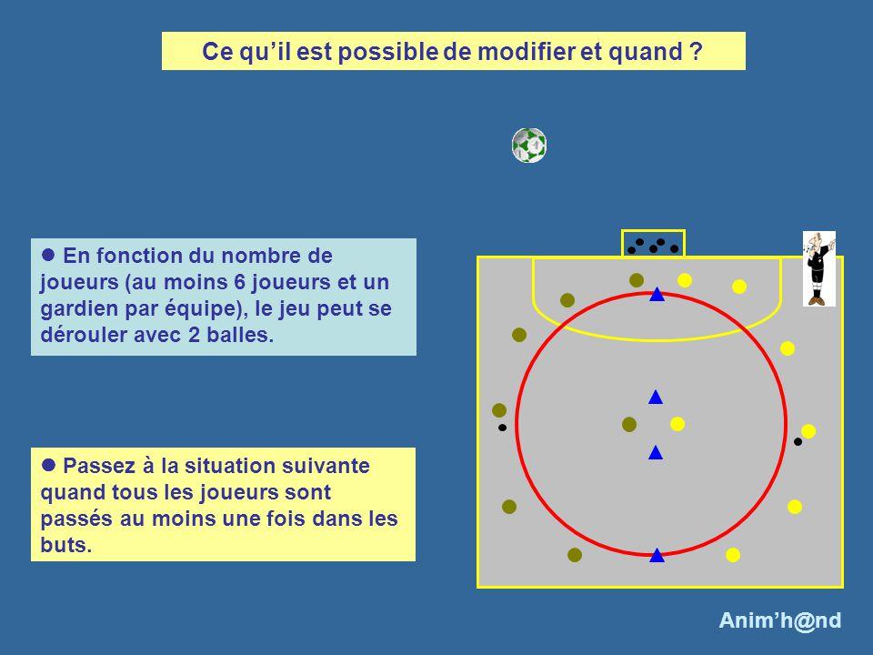En fonction du nombre de joueurs (au moins 6 joueurs et un gardien par équipe), le jeu peut se dérouler avec 2 balles. Ce quil est possible de modifie