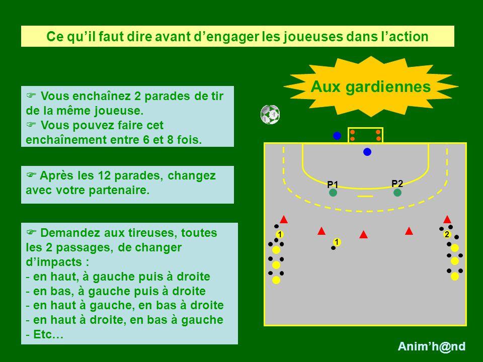 2 1 Les déplacements et placements de la gardienne : elle se déplace pendant la course de la joueuse et se place sur la trajectoire entre la balle et le centre du but.