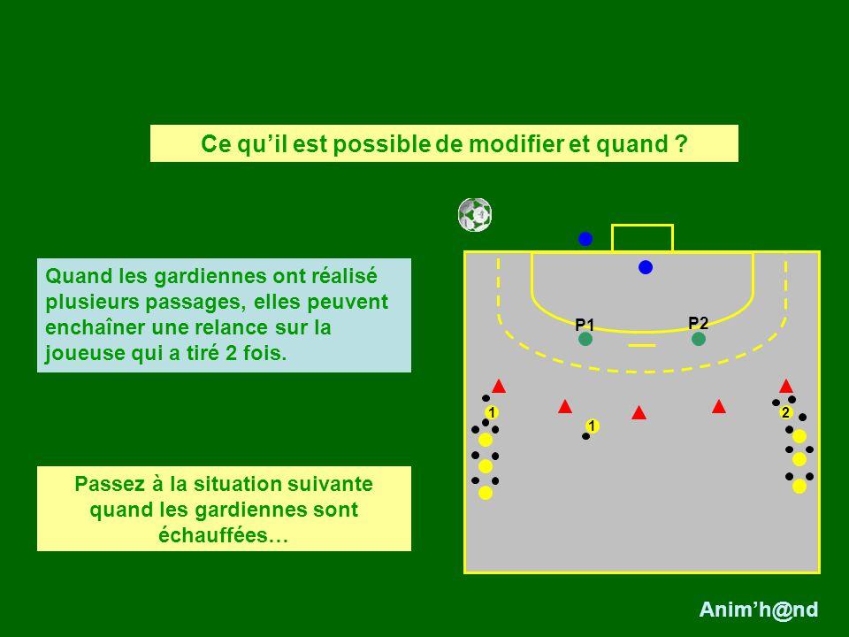 2 1 Quand les gardiennes ont réalisé plusieurs passages, elles peuvent enchaîner une relance sur la joueuse qui a tiré 2 fois. P1 P2 1 Passez à la sit