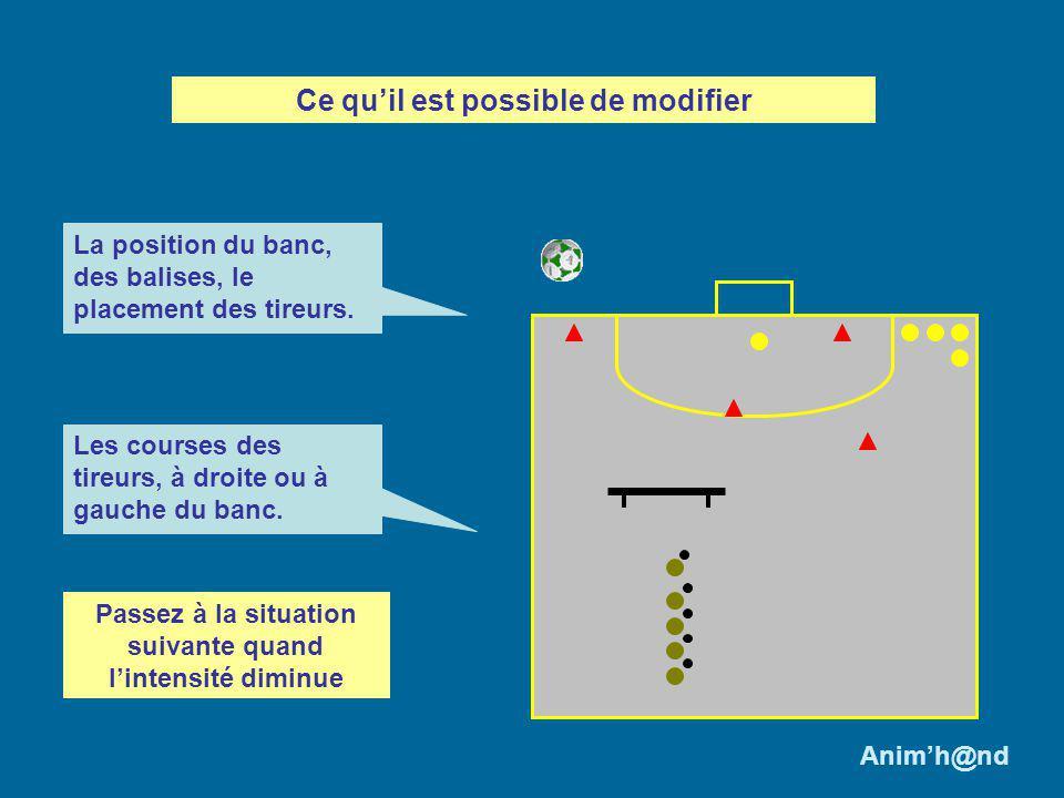 Conclusion : Lanimateur favorisera lactivité des joueurs qui doivent sadapter aux différents déplacements du gardien de but et prendre en compte leur propre course.