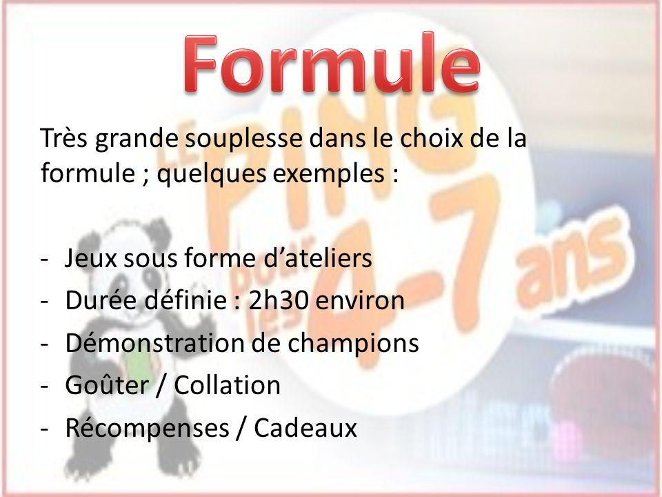 Très grande souplesse dans le choix de la formule ; quelques exemples : -Jeux sous forme dateliers -Durée définie : 2h30 environ -Démonstration de cha