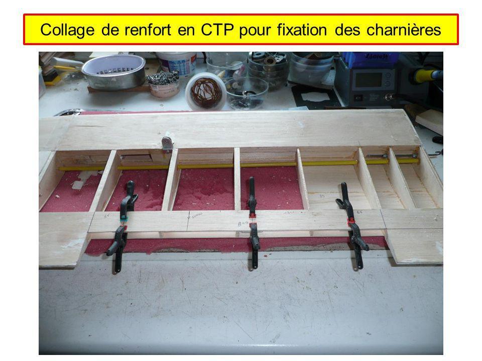 Collage de renfort en CTP pour fixation des charnières