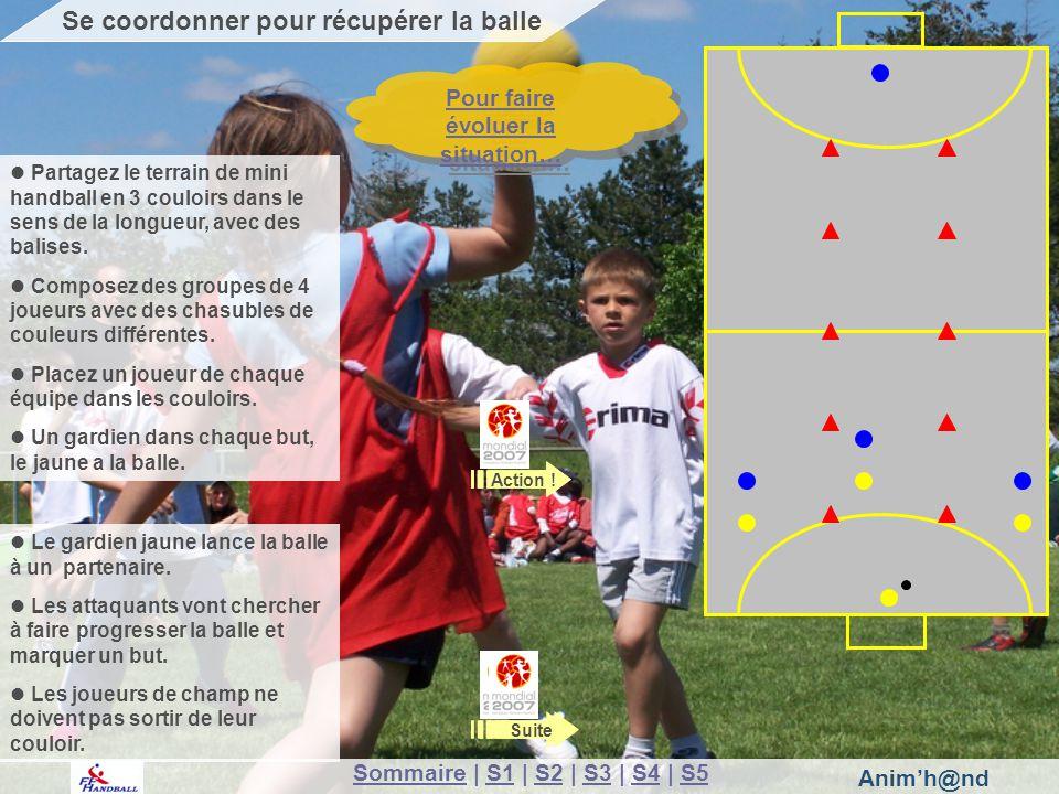 Animh@nd SommaireSommaire | S1 | S2 | S3 | S4 | S5S1S2S3S4S5 Suite Pour faire évoluer la situation… Pour faire évoluer la situation… Se coordonner pour récupérer la balle Partagez le terrain de mini handball en 3 couloirs dans le sens de la longueur, avec des balises.