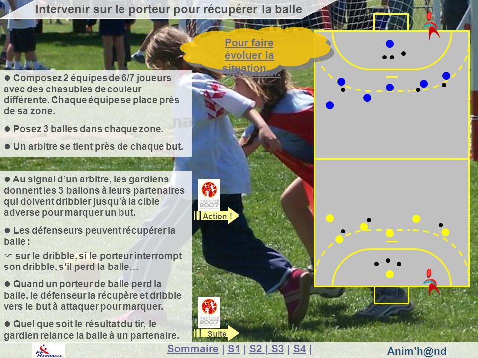 Animh@nd Au signal dun arbitre, les gardiens donnent les 3 ballons à leurs partenaires qui doivent dribbler jusquà la cible adverse pour marquer un but.