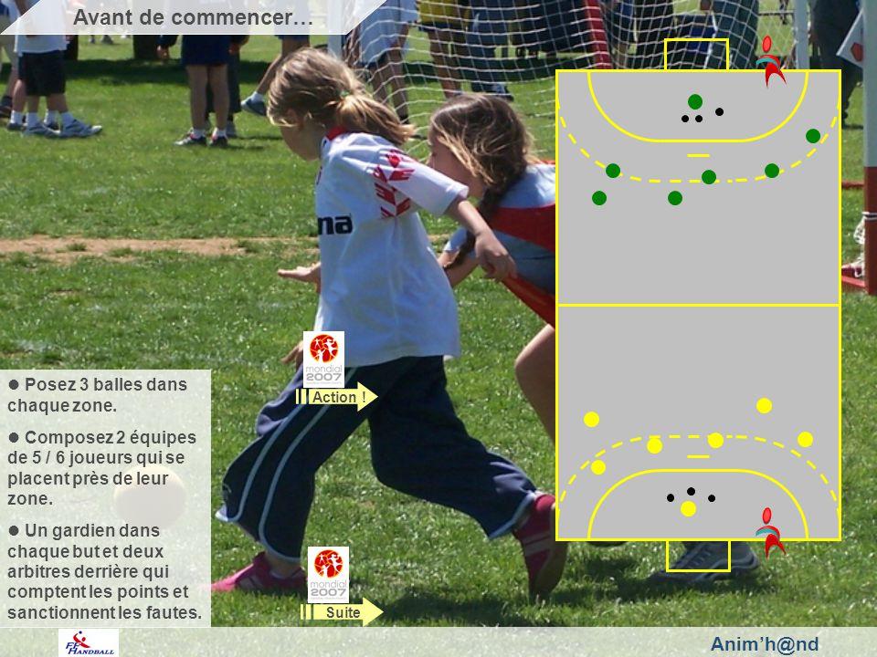 Animh@nd Posez 3 balles dans chaque zone. Composez 2 équipes de 5 / 6 joueurs qui se placent près de leur zone. Un gardien dans chaque but et deux arb