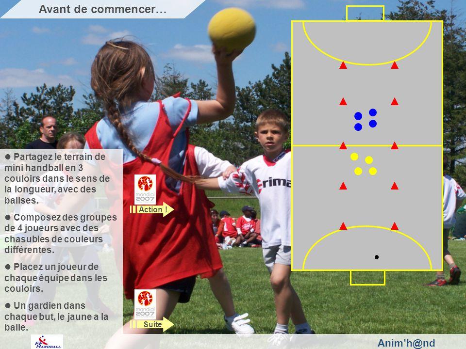 Animh@nd Partagez le terrain de mini handball en 3 couloirs dans le sens de la longueur, avec des balises.