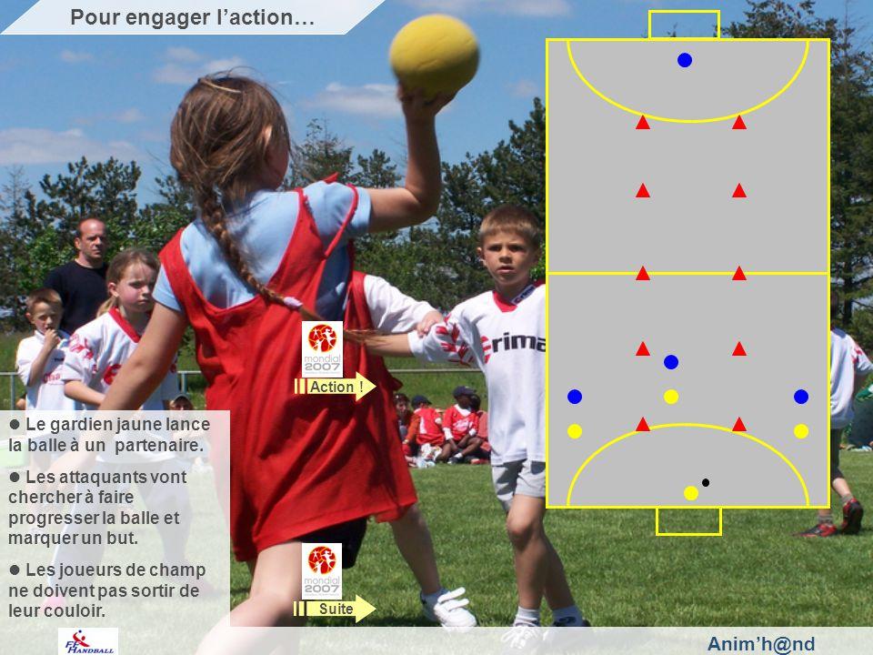 Animh@nd Le gardien jaune lance la balle à un partenaire.