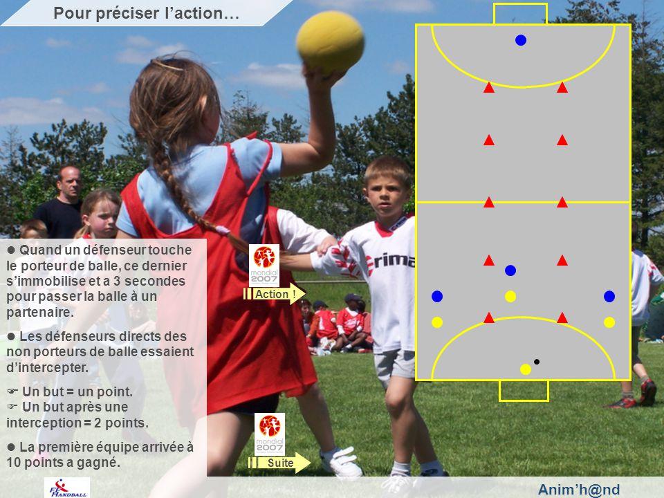 Animh@nd Quand un défenseur touche le porteur de balle, ce dernier simmobilise et a 3 secondes pour passer la balle à un partenaire.