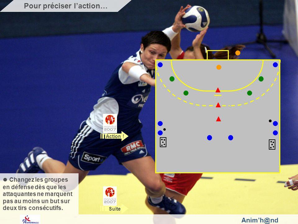 Animh@nd Observez : la réception de la balle en courant dans les espaces libres et les replacements, lengagement dans le duel avec la gardienne de but.